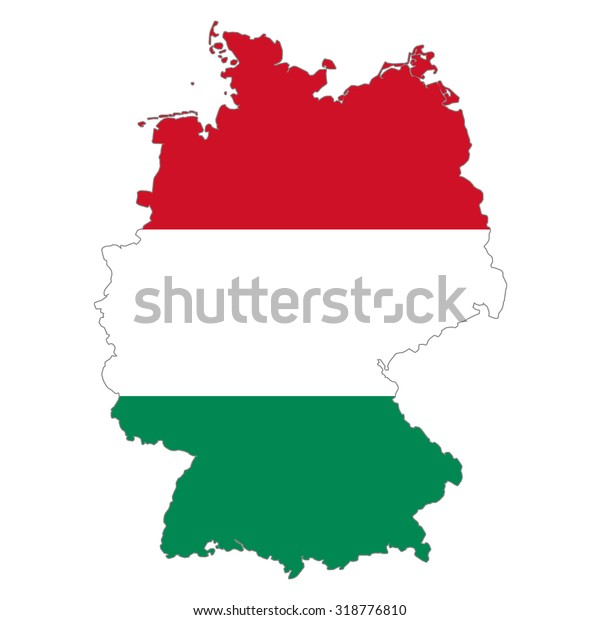Map Of Germany And Hungary.Map Germany Hungary Flag Colors Hungarians Stock Illustration 318776810