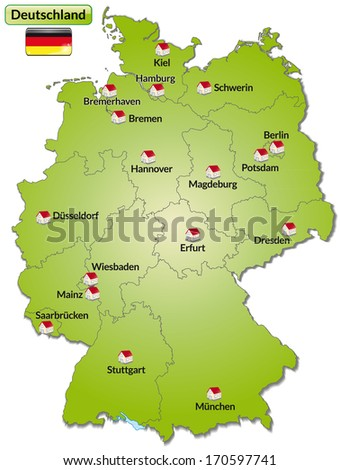 Map Germany Main Cities Green Stock Illustration 170597741