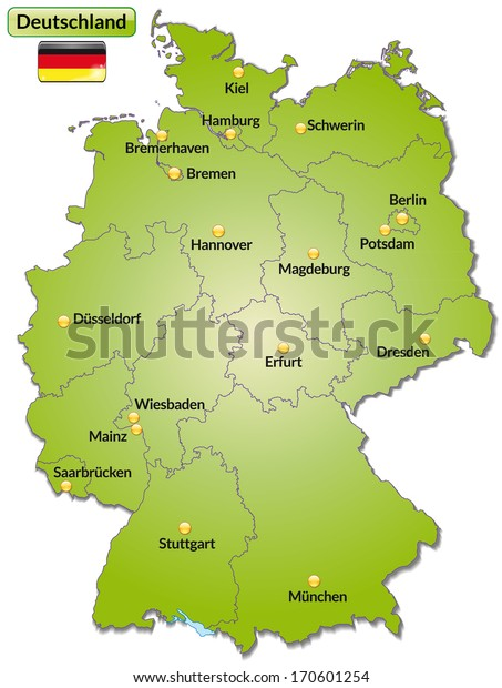 germany main cities map Map Germany Main Cities Green Stock Illustration 170601254 germany main cities map