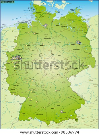 Map Germany Main Cities Neighboring Countries Stockillustration ...