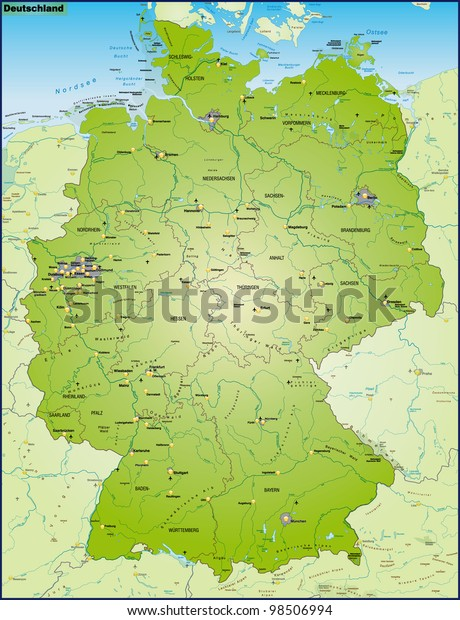 Map Germany Main Cities Neighboring Countries ...