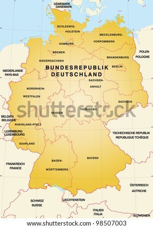 Map Of Germany And Surrounding Countries.Map Germany Neighboring Countries Stock Illustration Royalty Free