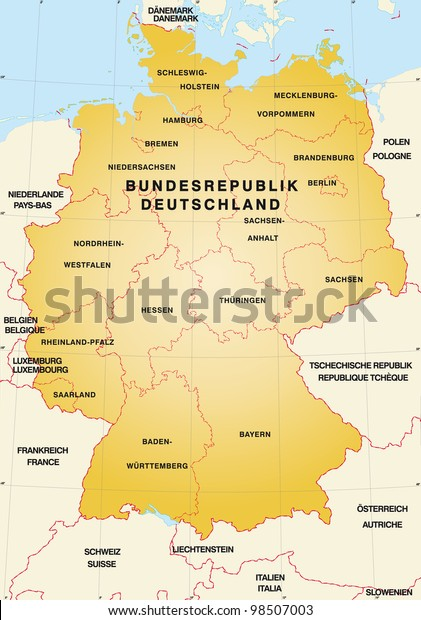 Map Of Germany With Neighbouring Countries.Map Germany Neighboring Countries Stock Illustration 98507003