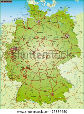 Map Of Germany And Surrounding Countries.Map Germany Neighboring Countries Highways Stock Illustration