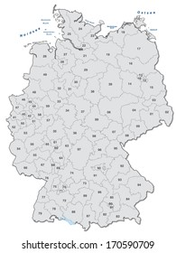 Map of Germany with postal codes in gray