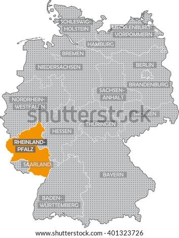 Map Germany Rhineland Palatine Stock Illustration 401323726