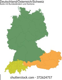 Map of Germany / Switzerland / Austria ...  with provinces or cantons.
