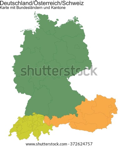 Map Germany Switzerland Austria Provinces Cantons Stockillustration ...