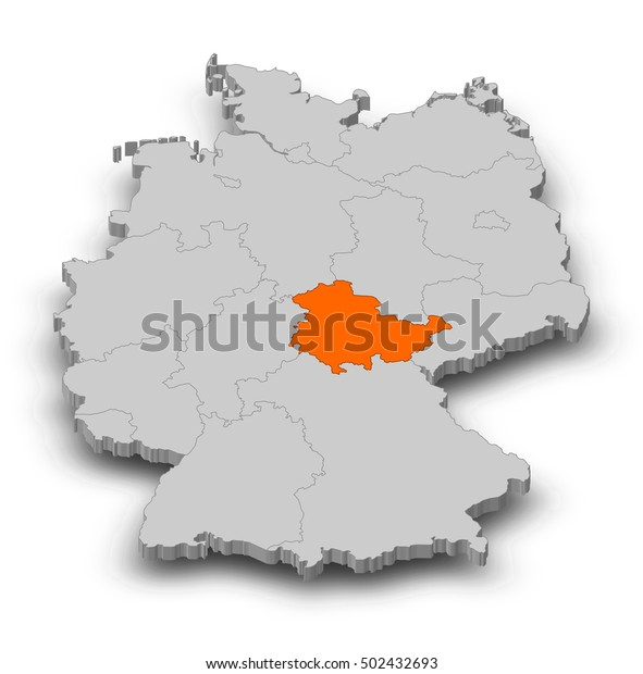 Map - Germany, Thuringia - 3D-Illustration