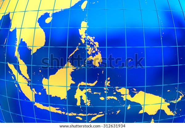 Map Of Asia Latitude And Longitude.Map Golden Land Southeast Asia Latitude Stock Illustration 312631934