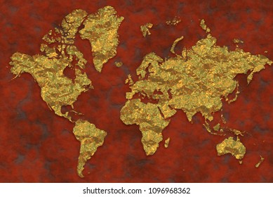 Map of the golden-plated world, golden surfaces. World world map leaning on a rusty background. 3d rendering