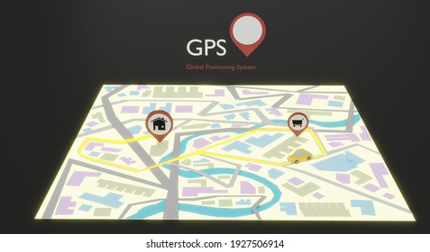 Map GPS navigation with red pin pointers on screen.3d rendering