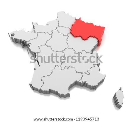 Map Grand Est Region France 3 D Stock Illustration 1190945713 ...