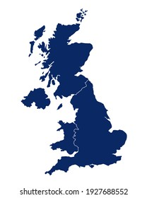 Map of Great Britain with regions and borders