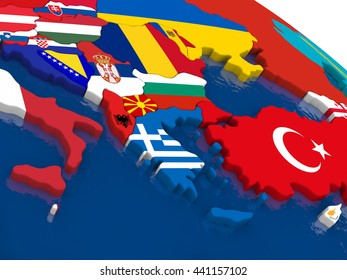Map of Greece with embedded flags on 3D political map. Accurate official colors of flags. 3D illustration