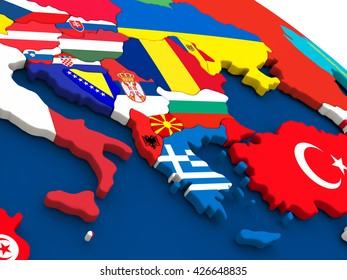 Map of Greece on globe with embedded flags of countries. 3D illustration.