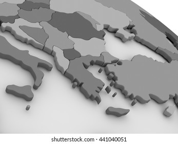 Map of Greece on grey model of Earth. 3D illustration