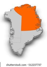 Map - Greenland, Northeast Greenland National Park - 3D-Illustration