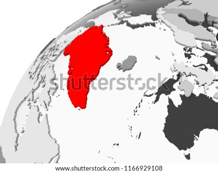 Map Greenland Red On Grey Political Stock Illustration 1166929108