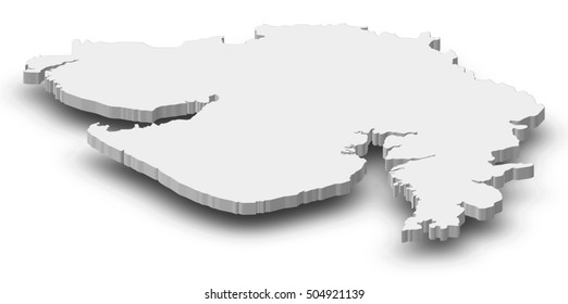 Map - Gujarat (India) - 3D-Illustration