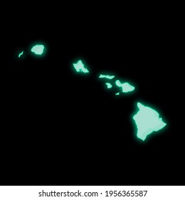Map of Hawaii, old green computer terminal screen, on dark background