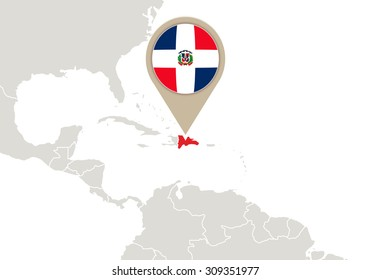 Map with highlighted Dominican Republic map and flag, Rasterized Copy