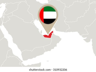 Map Highlighted United Arab Emirates Map Stock Vector (Royalty Free ...