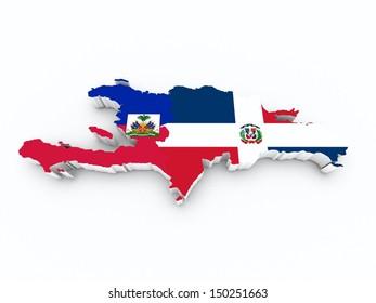map hispaniola on white isolated
