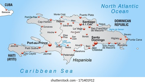 Map of Hispaniola as an overview map in gray