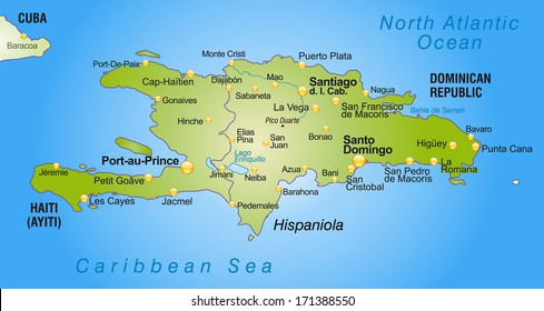 Map of Hispaniola as an overview map in green