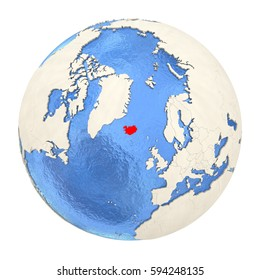Map of Iceland on political globe with watery oceans and embossed continents. 3D illustration isolated on white background.