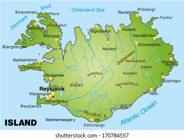 Map of Iceland as an overview map in green