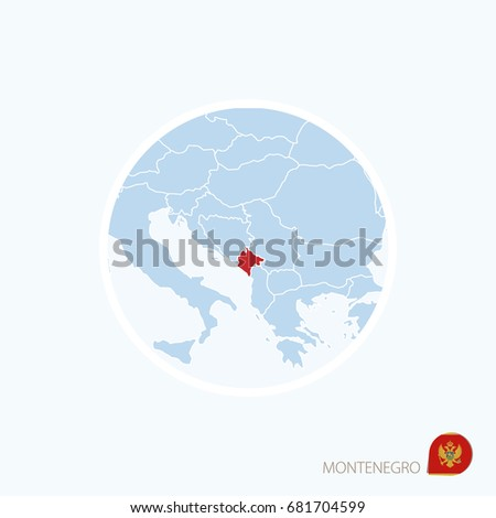Map Icon Montenegro Blue Map Europe Stock Illustration Royalty