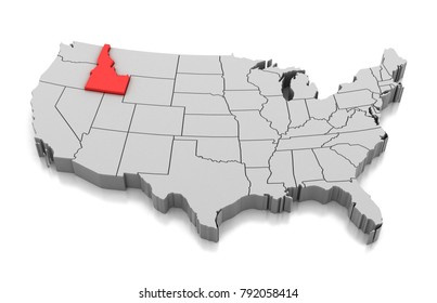 Map of Idaho state, USA, isolated on white.