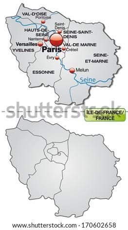 Map Of Yvelines France.Map Ilede France Borders Gray Stock Illustration 170602658