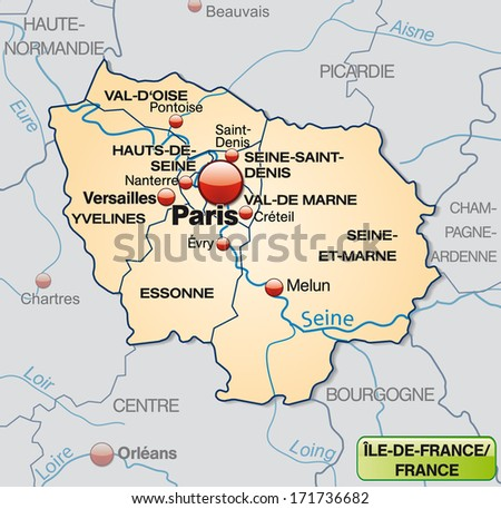 Map Of Yvelines France.Map Ilede France Borders Pastel Orange Stock Illustration Royalty