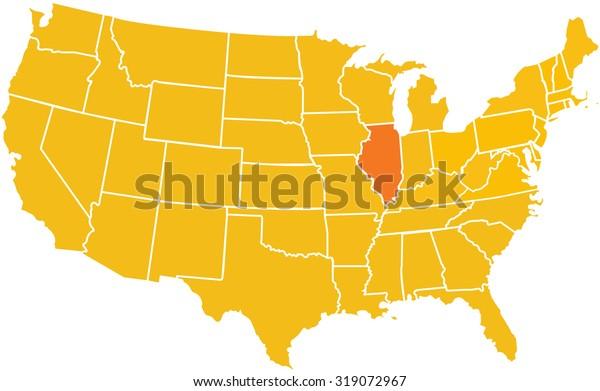 Map Illinois Placement United States Stock Illustration ... on illinois pennsylvania map, illinois map springfield il, illinois state parks map, illinois state map with cities and towns, illinois high speed rail map, illinois oregon map, illinois us map, illinois food map, illinois turkey map, illinois map and surrounding states, illinois street map, washington illinois map, illinois school district map, belleville illinois state map, illinois tribe map, illinois concealed carry map, illinois judiciary map, illinois state university map, illinois minnesota map, illinois zip codes by city map,