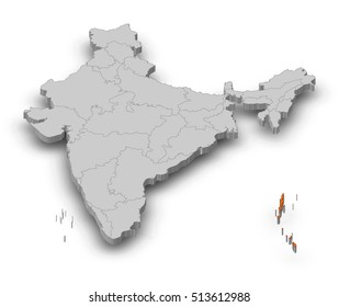 Map - India, Andaman and Nicobar Islands - 3D-Illustration