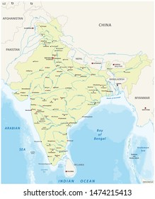 Map of India with the biggest cities and rivers