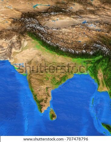 Map India Detailed Satellite View Earth Stock Illustration 707478796