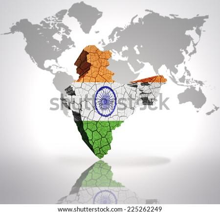 Map India Indian Flag On World Stock Illustration 225262249