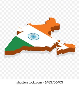 Map India isometric concept. 3d flat illustration of Map India. map of india with national flag.
