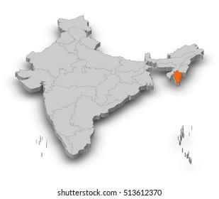 Map - India, Mizoram - 3D-Illustration
