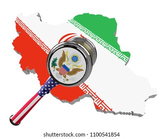 Map of Iran. United States sanctions against to Russia. Judge hammer United States of America, flag and emblem. 3d illustration. Isolated on white background.
