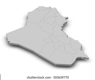Map - Iraq - 3D-Illustration