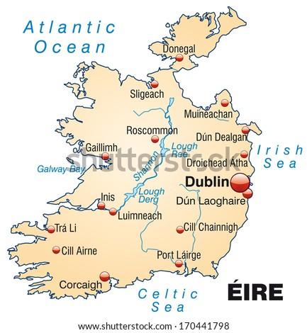 Map Of Ireland 32.Map Ireland Overview Map Pastel Orange Stock Illustration 170441798