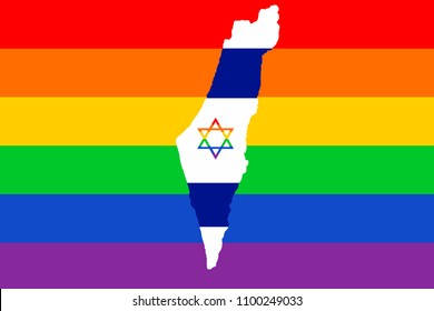 Map of Israel, against the background of the flag of pride of LGBT people with a multi-colored star of David.