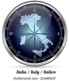 Map of Italy with borders in chrome