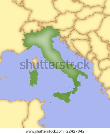 Map Italy Borders Surrounding Countries Stock Illustration 22427842
