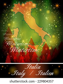 Map of Italy in Christmas Design